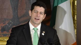U.S. House Speaker Paul Ryan, a Republican from Wisconsin, speaks during the Friends of Ireland Luncheon at the U.S. Capitol in Washington, D.C., U.S., on Thursday, March 16, 2017. As the Trump administration vows to upend international trade accords, including pulling out of the North American Free Trade Agreement, German Chancellor Angela Merkel's government has redoubled its support for multilateral trade arrangements. Photographer: Olivier Douliery/Pool via Bloomberg