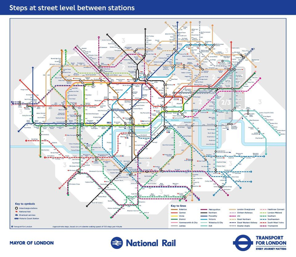 tfl a new map showing approximately how many steps it takes to walk between stations click here for a higher res image