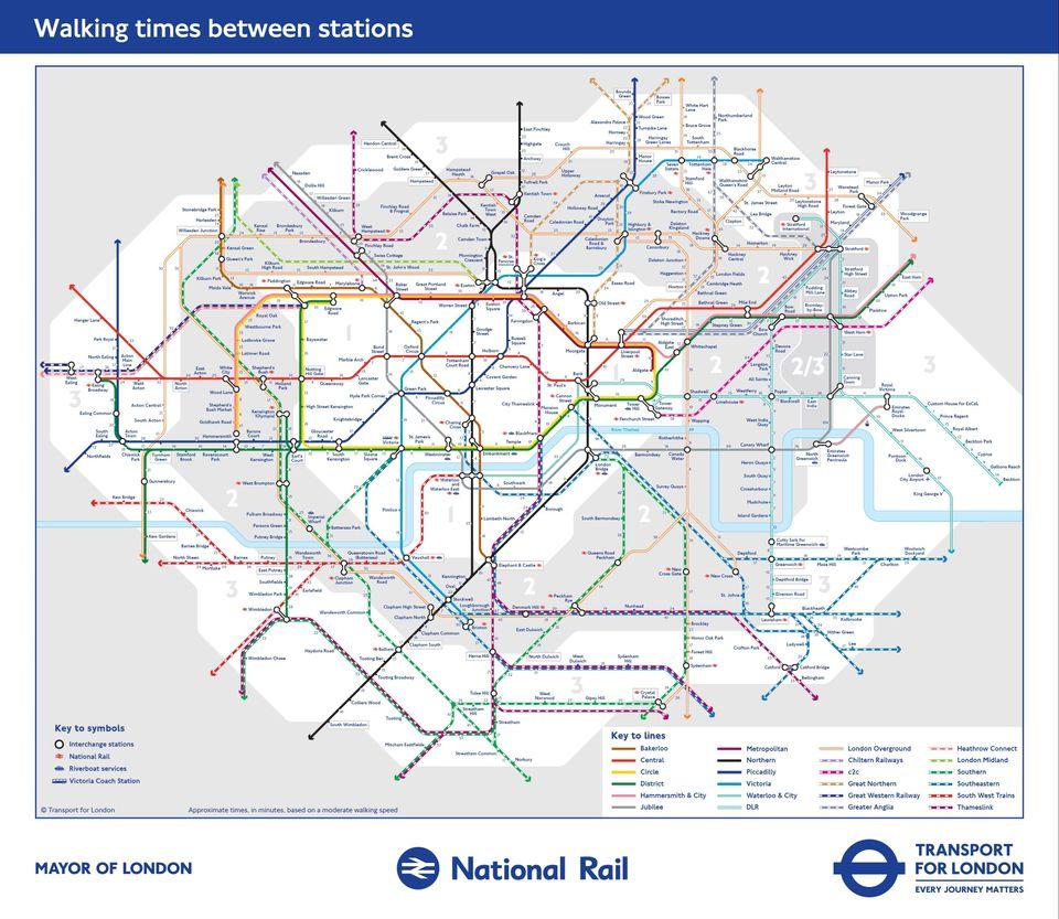 TfLs New Tube Map Reveals Walking Distances Between London - National rail map london