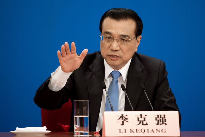 China's Premier Li Keqiang speaks after the closing ceremony of the annual session of China's legislature, the National Peopl