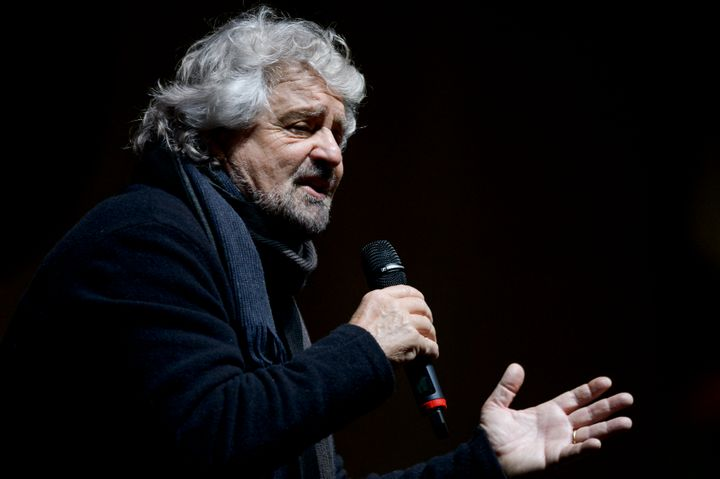 Beppe Grillo, founder of the Five Star Movement, speaks during a demonstration.