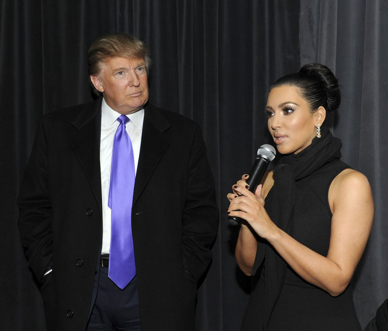 """Donald Trump and Kim Kardashian at The Gansevoort Hotel in New York, celebrating Perfumania and Kardashians's appearance on """"The Apprentice"""" on Nov. 10, 2010."""