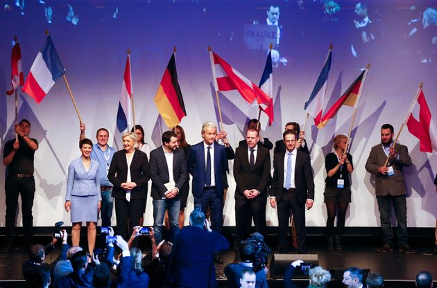 Geert Wilders stands in the middle of a line-up of European far-right leaders in January