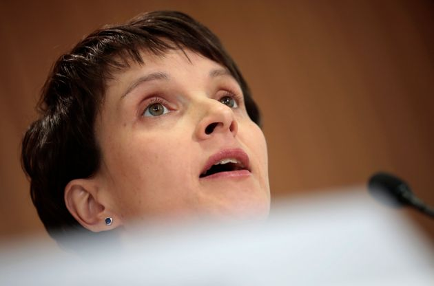 Anti-immigration party Alternative for Germany (AfD) leader Frauke Petry answers questions last