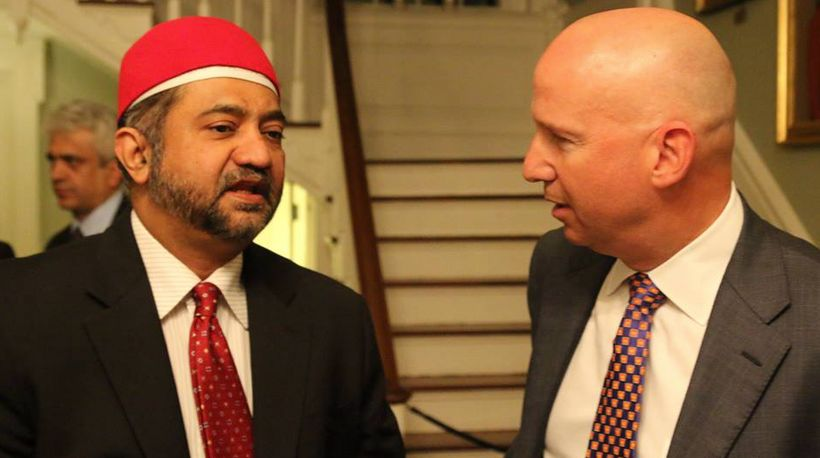 Governor Markell and Dr. Muqtedar Khan at the Governor's Iftar in 2016.