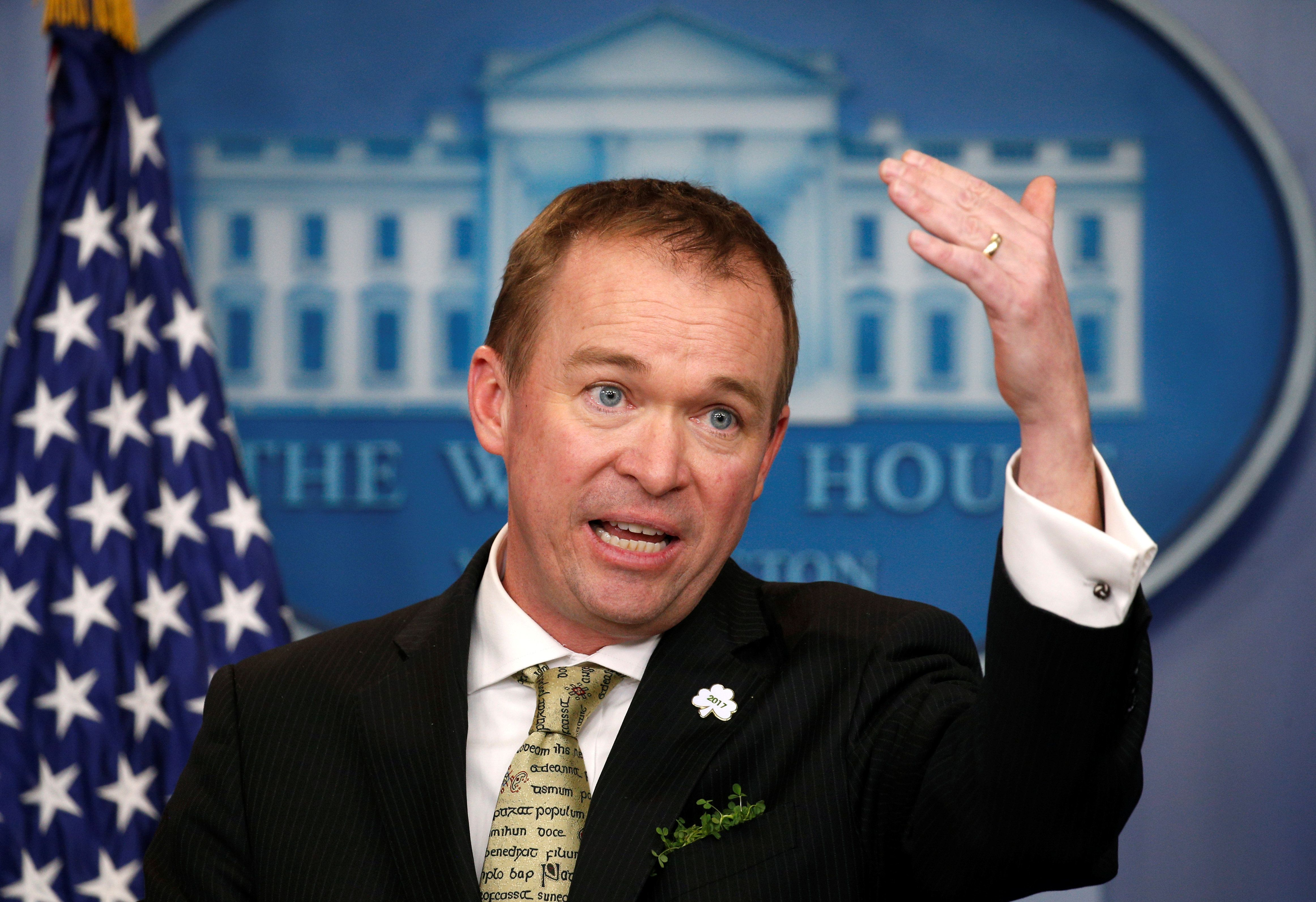 White House Office of Management and Budget Director Mick Mulvaney speaks about of U.S. President Donald Trump's budget in the briefing room of the White House in Washington, U.S., March 16, 2017. REUTERS/Kevin Lamarque