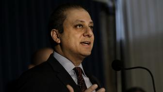 Preet Bharara, U.S. attorney for the Southern District of New York, speaks during a press conference in New York, U.S., on Wednesday, Dec. 21, 2016. A former portfolio manager who was responsible for investing more than $53 billion in New York State employee retirement funds took more than $100,000 in bribes in exchange for steering more than $2 billion in pension business to two brokers, earning them and their firms millions of dollars in commissions, authorities said on Wednesday. Photographer: Peter Foley/Bloomberg via Getty Images