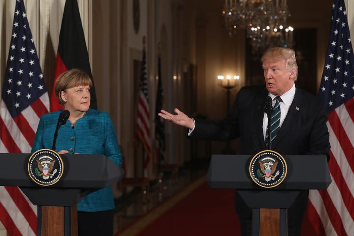 President Donald Trump holds a joint press conference with German Chancellor Angela Merkel in the East Room of the White Hous
