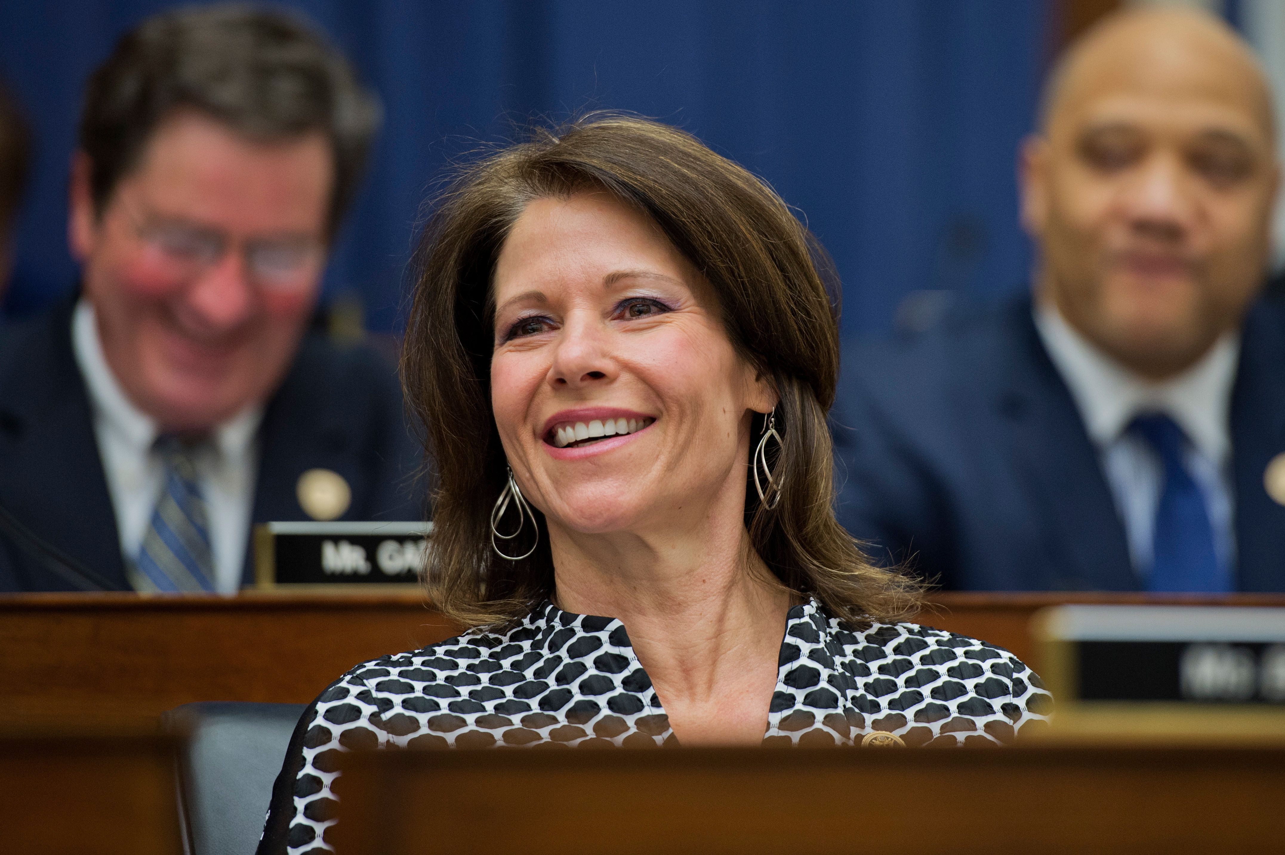 UNITED STATES - FEBRUARY 11: Rep. Cheri Bustos, D-Ill., attends a House Transportation and Infrastructure Committee hearing titled 'Surface Transportation Reauthorization Bill: Laying the Foundation for U.S. Economic Growth and Job Creation Part I,' in Rayburn Building, February 11, 2015. Secretary of Transportation Anthony Foxx testified.(Photo By Tom Williams/CQ Roll Call)