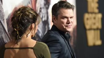 HOLLYWOOD, CA - FEBRUARY 15:  Luciana Barroso (L) and Matt Damon arrive at the premiere of Universal Pictures' 'The Great Wall' at TCL Chinese Theatre IMAX on February 15, 2017 in Hollywood, California.  (Photo by Joshua Blanchard/Getty Images)