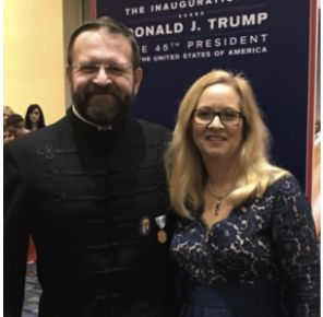 Sebastian Gorka, a counterterrorism adviser to President Donald Trump, pictured at the inaugural ball wearing a medal indicat