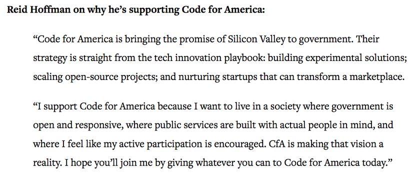 <em>LinkedIn Founder Reid Hoffman comments in a CfA press release</em>