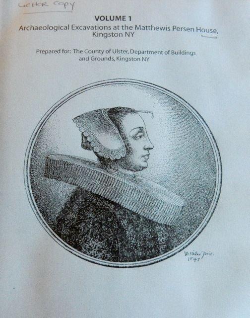 Woman from 1600's wearing bodkin, Matthewis Persen House, Kingston NY
