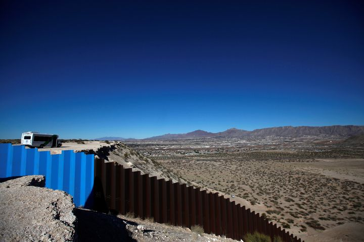 A general view shows a newly built section of the U.S.-Mexico border fence at Sunland Park, U.S. opposite the Mexican border