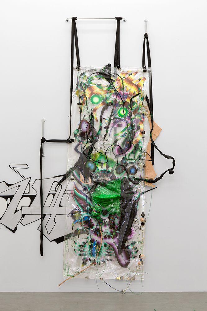 KAYA, <em>Swarm Living Is For Bodybag Onion Braid</em>, 2015, metal, vinyl rope, oil on mylar, vinyl, grommets, epoxy, plexig
