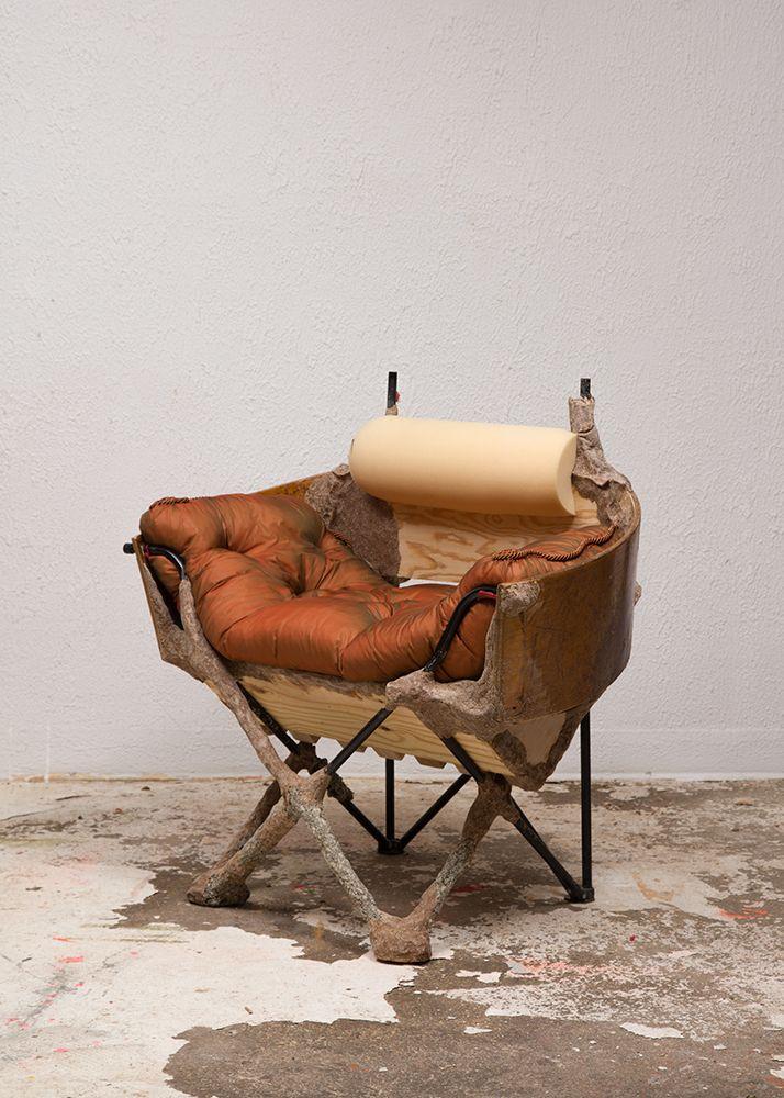 Jessi Reaves, <em>Crust Bucket Comes to Town (Slipper Chair)</em>, 2016, steel frame, pine, studio dust, wood glue, polyureth
