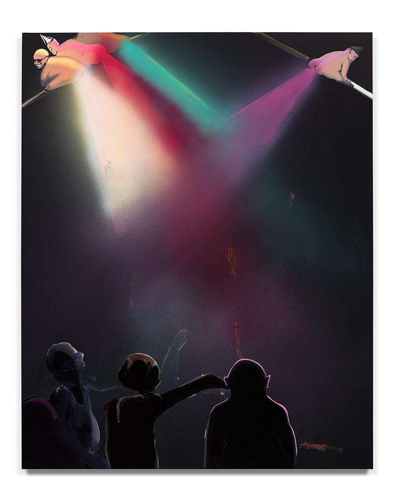 Tala Madani, <em>Shitty Disco</em>, 2016. Oil on linen, 55 x 44 in. (140 x 112 cm). Courtesy the artist and Pilar Corrias Gal