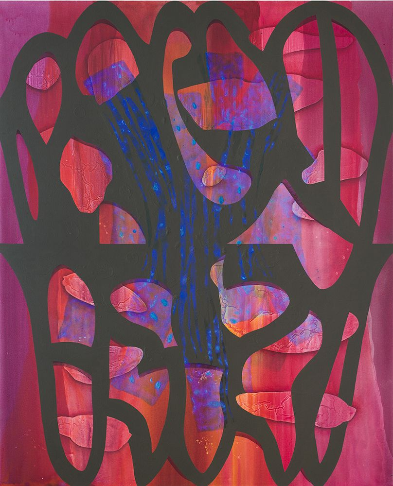 Carrie Moyer, <em>Glimmer Glass</em>, 2016. Acrylic and glitter on canvas, 96 x 78 in. (243.8 x 198.1 cm). Collection of the