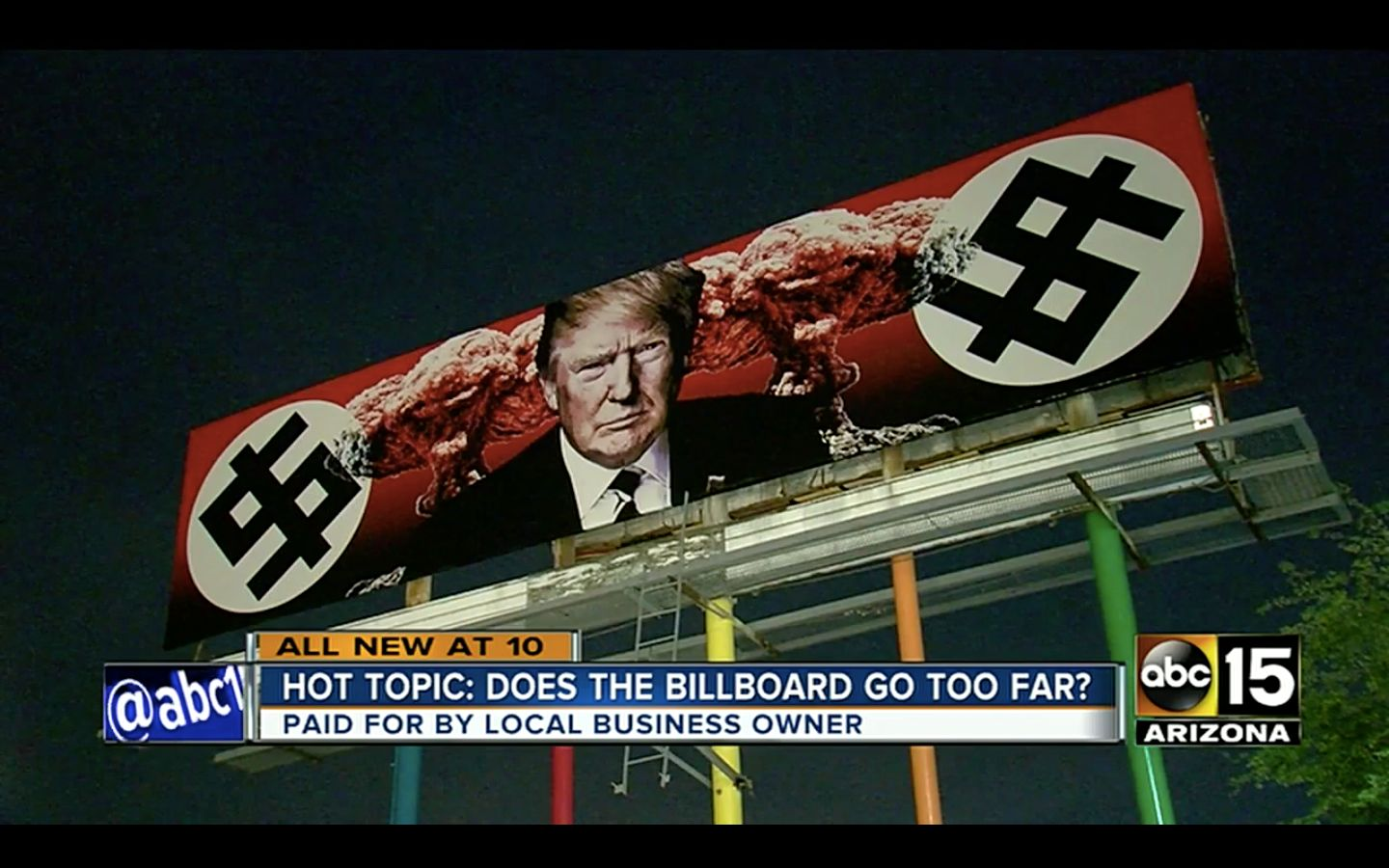 This anti-Trump billboard in Arizona has drawn heated opinions about its design, some who say its Nazi imagery goes too far.