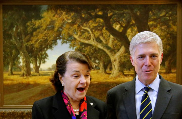 Sen. Dianne Feinstein (D-Calif.) welcomes Supreme Court nominee Judge Neil Gorsuch to her office on Feb. 6, 2017.