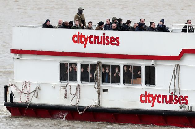 People with the hands up in a boat during a multi-agency exercise, which will test the emergency services'...