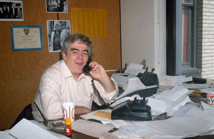 Jimmy Breslin is photographed in his office at the Daily News May 19, 1983, in New York City.