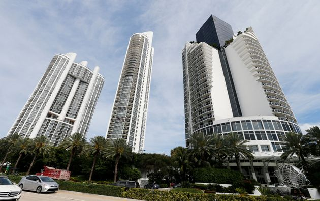 From left, the Trump Royale, The Trump Palace and the Trump International Beach Resort are shown in Sunny...