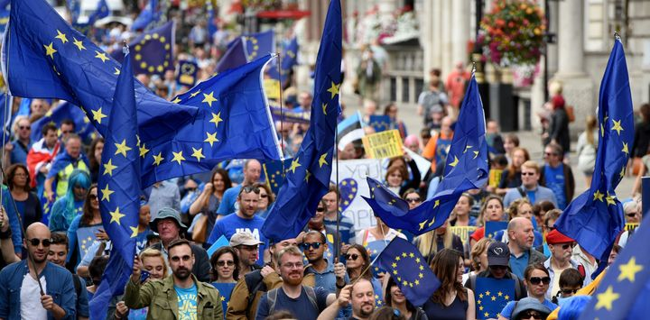 Thousands of people take to the streets in a series of 'March for Europe' rallies in protest against the referendum vote to l