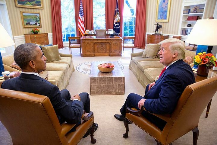 President Obama & President-elect Trump meet in the Oval Office.