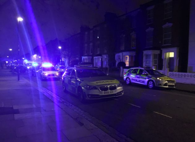 Emergency services at the scene in Wilberforce Road, Finsbury
