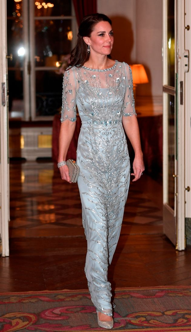 The Duchess of Cambridge arrives for a diner at the British Embassy in Paris, France, on 17 March