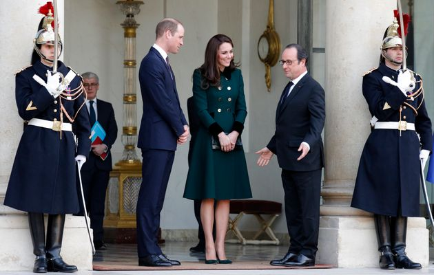 French President Francois Hollande accompanied the Duchess of Cambridge and Prince William at the Elysee...