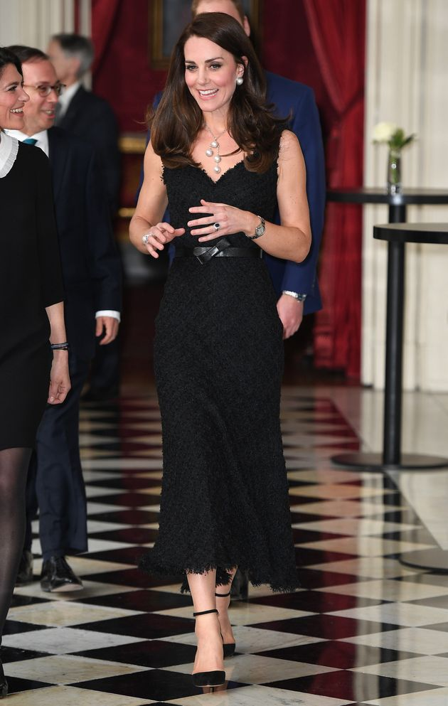 The Duchess of Cambridge attended a reception at the British Embassy on 17 March 2017 in Paris,