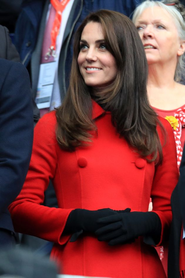 The Duke and Duchess of Cambridge attend the RBS Six Nations match between France and Wales at Stade...