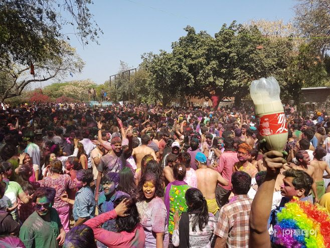 During Holi, the spring festival in India, a drug called bhang is tacitly accepted for use. The bottle in the right side of t