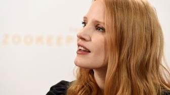 US actress Jessica Chastain, who plays the main character, speaks during a press conference prior to the gala screening of 'The Zookeeper's Wife' in Warsaw on March 7, 2017. / AFP PHOTO / JANEK SKARZYNSKI        (Photo credit should read JANEK SKARZYNSKI/AFP/Getty Images)