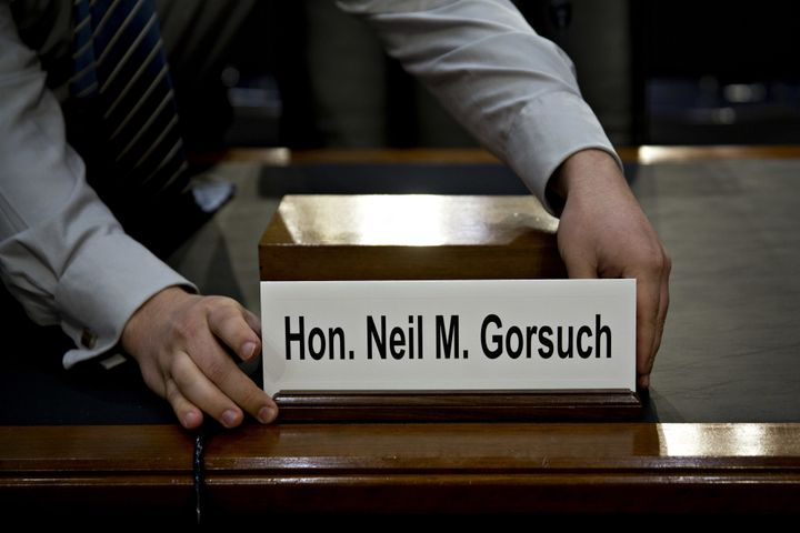 The name placard for Neil Gorsuch, U.S. Supreme Court nominee for U.S. President Donald Trump, is placed on a witness table b