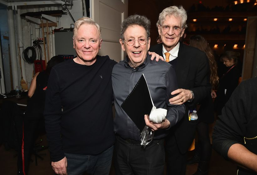 From left to right: Bernard Sumner, Philip Glass, Robert Thurman.
