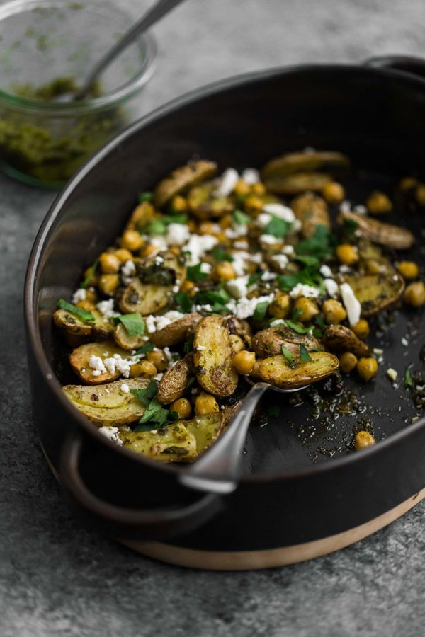 "<strong>Get the <a href=""https://naturallyella.com/green-harissa-roasted-potatoes/"" target=""_blank"">Roasted Potatoes and Chic"