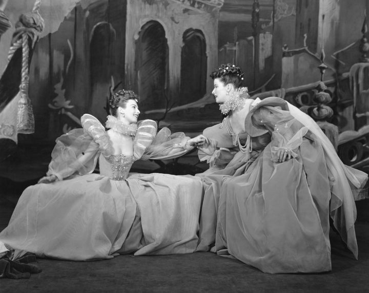 "Cloris Leachman and Katharine Hepburn star in a scene from ""As You Like It."""