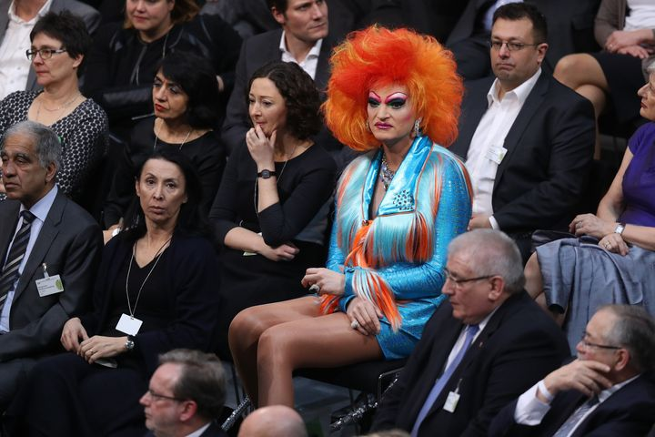 German drag queen Olivia Jones attends the election of the new president of Germany.