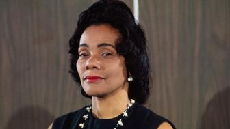 (Original Caption) Mrs. Coretta Scott King, the widow of Dr. Martin Luther King is shown here during a press conference with Republican John Conyers, Jr.
