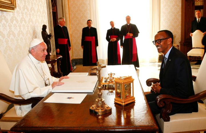 Pope Francis talks with Rwandan President Paul Kagame during a private meeting at the Vatican on March 20.