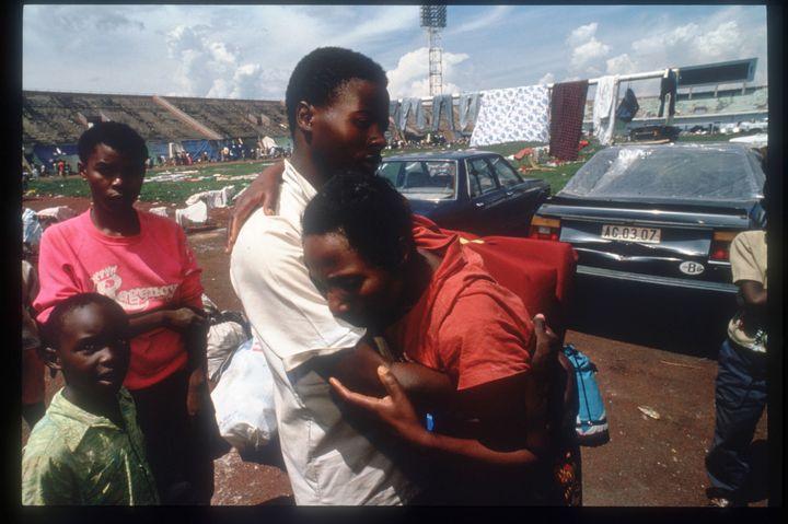 Hutu refugees wait to be evacuated May 25, 1994, in Rwanda.