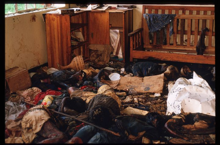 Bodies and wreckage lie on the floor of a room May 5, 1994, in Rukara, Rwanda. Hundreds of Tutsis were killed at the Rukara C