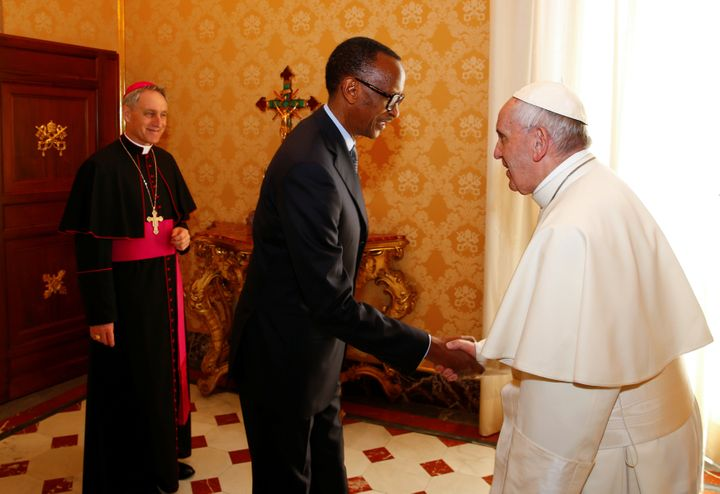 Rwanda's Kagame is welcomed by Pope Francis during the private meeting at the Vatican.