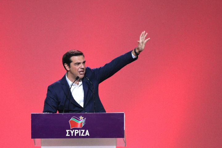 Prime Minister of Greece Alexis Tsipras delivers a speech during his Syriza party's congress. Athens. Oct. 13, 2016.