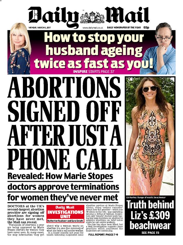 The Daily Mail ran this story about Marie Stopes abortion clinics earlier this