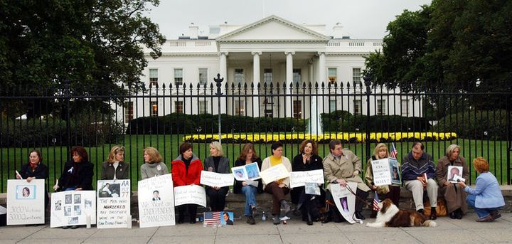 Families of 9/11 victims protest the handling of the investigation of the 9/11 attacks, Oct. 2002.