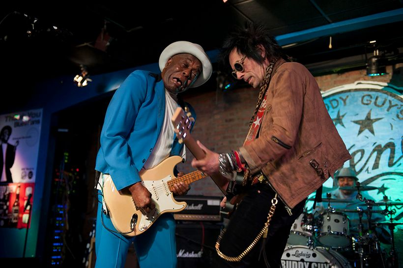 Buddy Guy and Earl Slick playing at Buddy Guy's Legends in Chicago.
